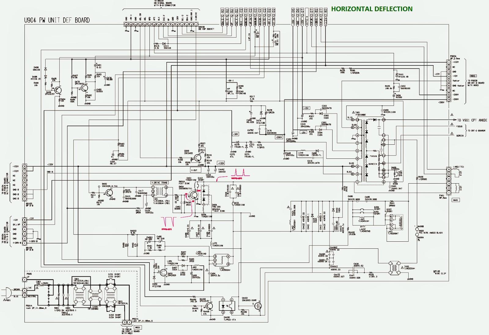 horizontal deflection circuit diagram