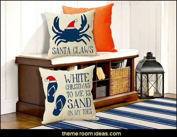 Christmas Throw Pillow Covers Rustic Beach Christmas Flip Flop White Christmas and Santa Claws Burlap Linen Decorative Nauticus Pillow Cases
