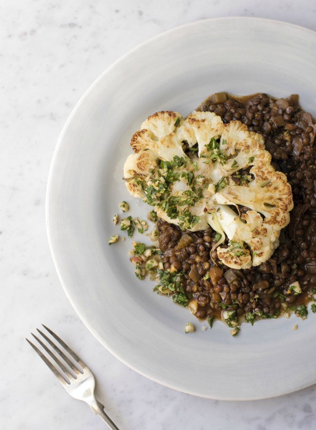 Braised Lentil and Cauliflower Steak recipe from Jo Pratt's Flexible Vegetarian