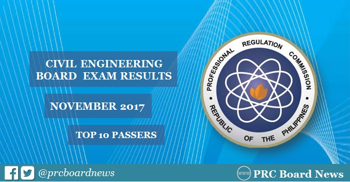 PRC RESULT: November 2017 Civil Engineer CE board exam top 10 passers