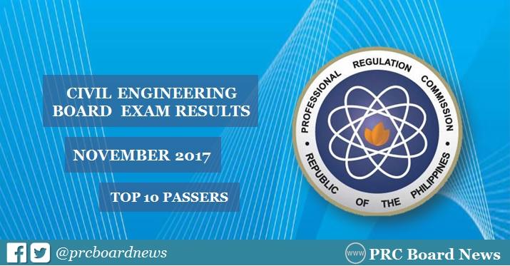 PRC RESULT: November 2017 Civil Engineer CE board exam top 10 passers
