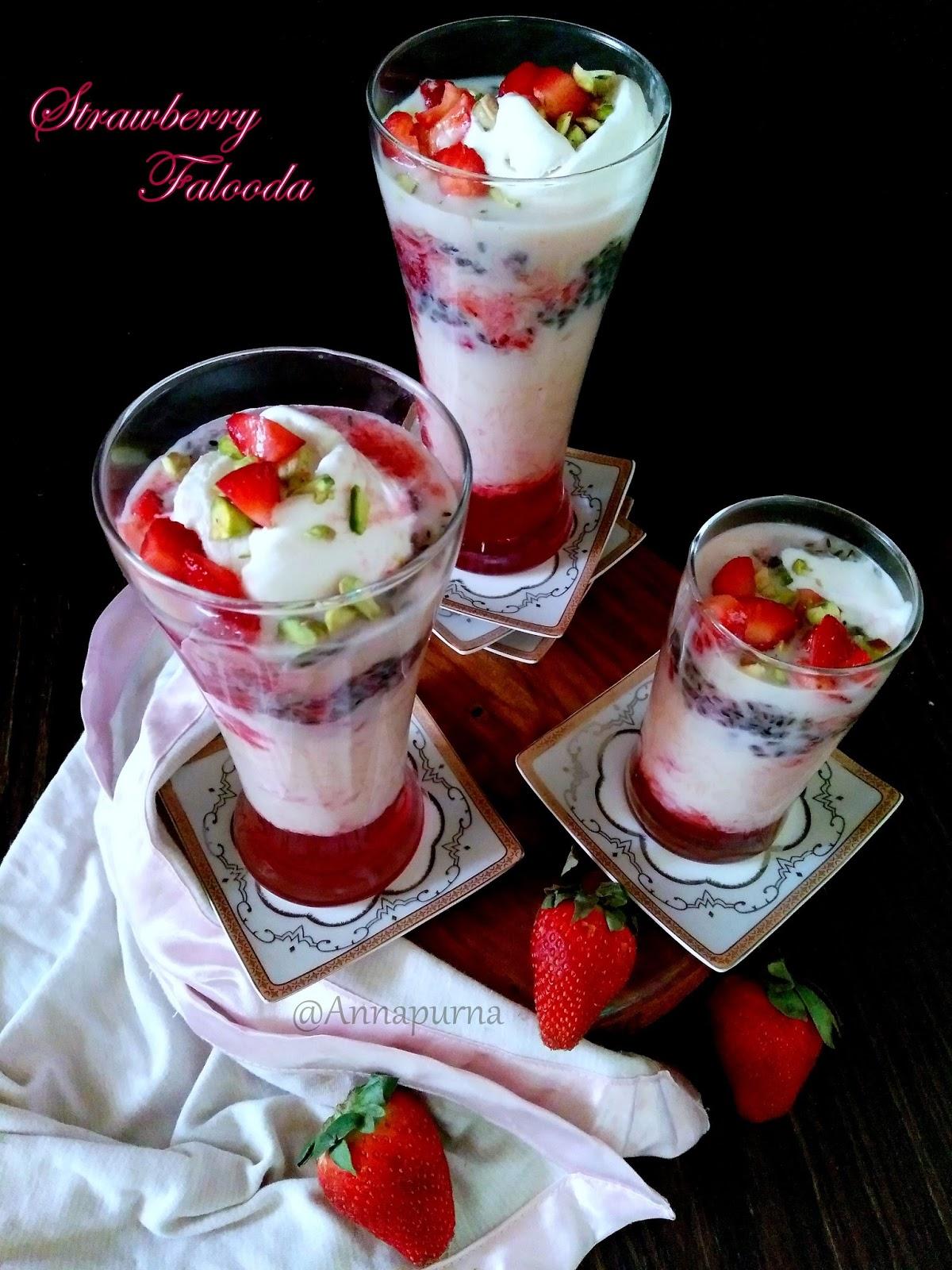 Annapurna Strawberry Falooda Recipe