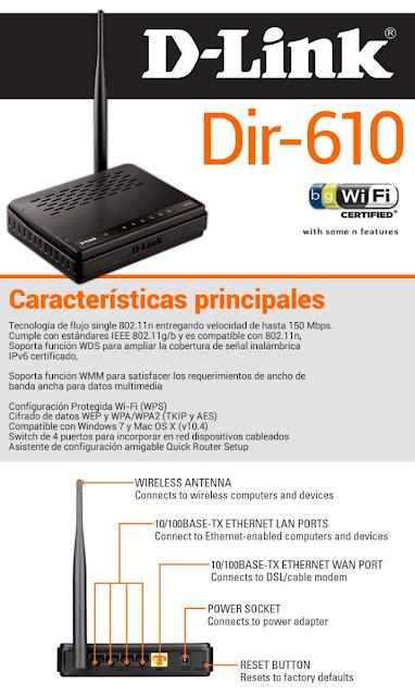 Specs del router dlink Dir 610