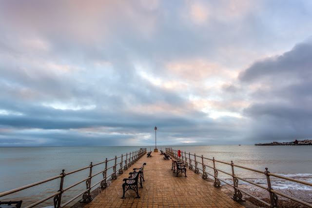 Beautiful colours above Banjo Pier in Swanage Dorset