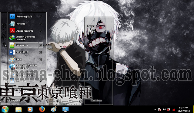 Tema Windows 7 Kaneki Ken (Ken Kaneki - Tokyo Ghoul)