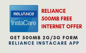 Reliance Instacare offer - Download and Get 500Mb 3G Data