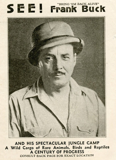 Promotional brochure for Frank Buck and His Spectacular Jungle Camp. Frank of the cover in Safari gear. The Zoo Houdinis and other stories. marchmatron.com