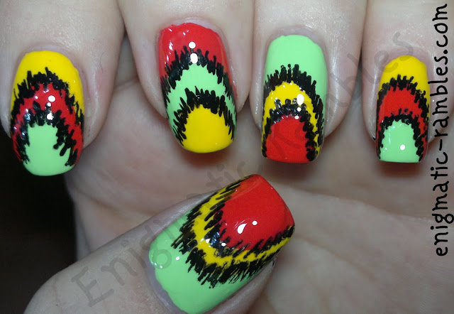 ikat-nail-nails-art-freehand-color-club-twiggie-almost-famous-barry-m-passion-fruit
