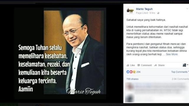 Admin Akun Instagram Mario Teguh Menyemprot Netizen yang Berkomentar Seperti Ini