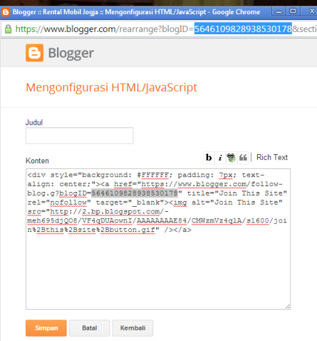 Cara pasang html javascript follow this button dengan google friend connect