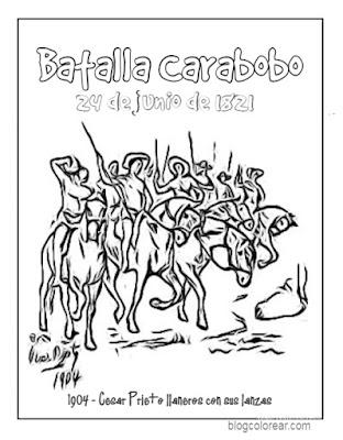 dibujos para colorear de la batalla de Carabobo