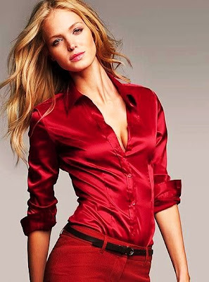 Red Silk Satin Blouse