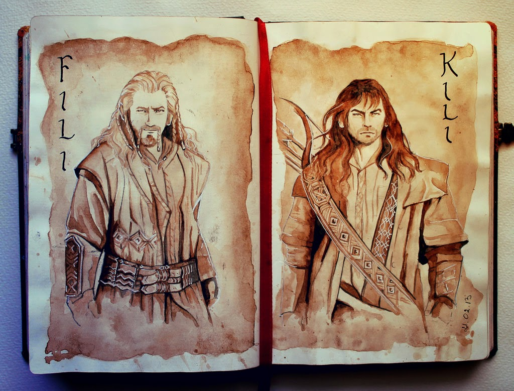 02-Fili-and-Kili-Kinko-White-The-Hobbit-Watercolors-www-designstack-co