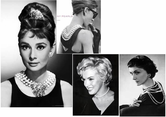iconic women wearing pearls - Audrey Hepburn, Marilyn Monroe, and Coco Chanel