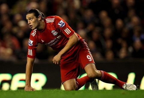 Cầu thủ Andy Carroll trong màu áo đội tuyển Anfield.