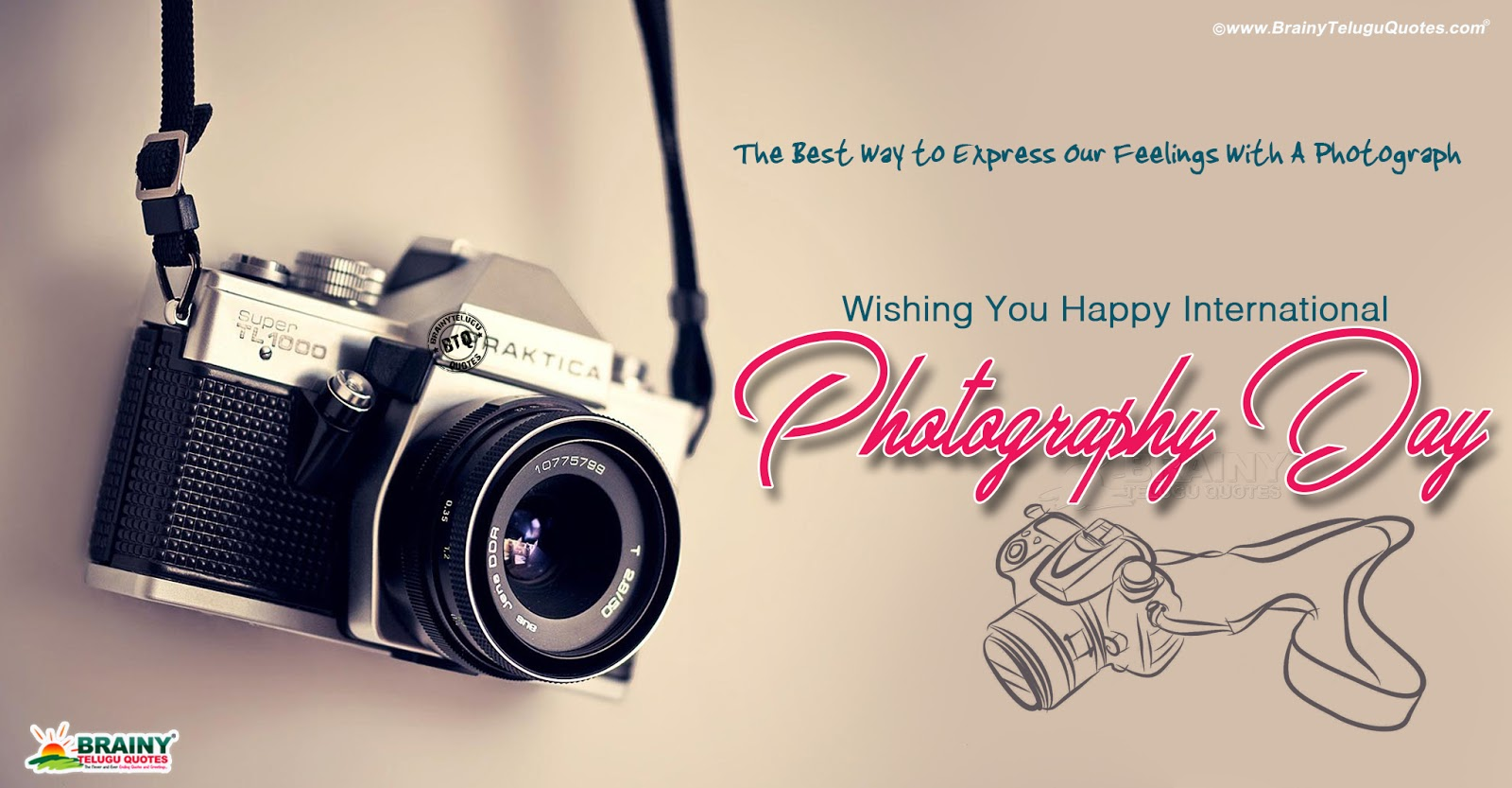 World Photography Day Greetings In English August 19th World Photography Day English Greetings Brainyteluguquotes Comtelugu Quotes English Quotes Hindi Quotes Tamil Quotes Greetings