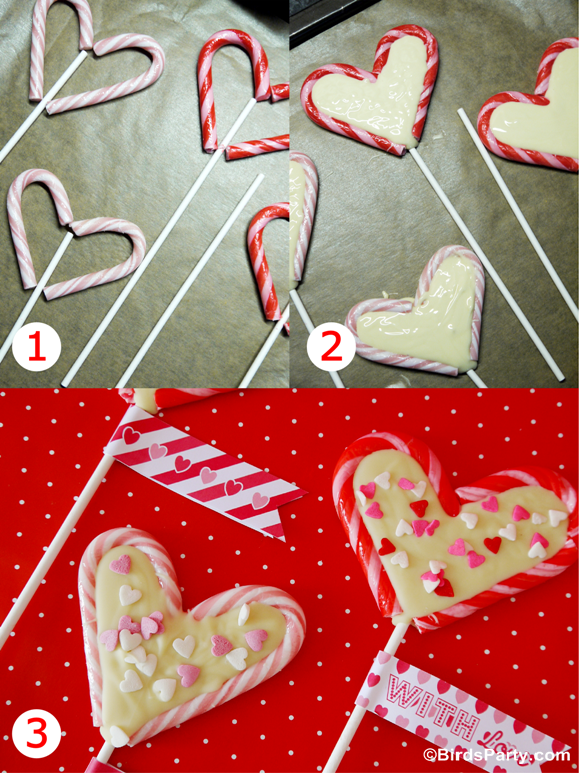 Valentine's Heart Lollipops using Candy Canes - BirdsParty.com