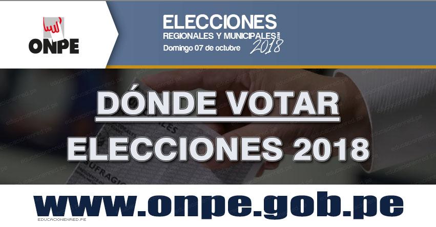 ONPE: SEPA DÓNDE VOTAR - Mensaje Texto (SMS - Email) Locales de Votación - Elecciones Regionales y Municipales 2018 - www.onpe.gob.pe