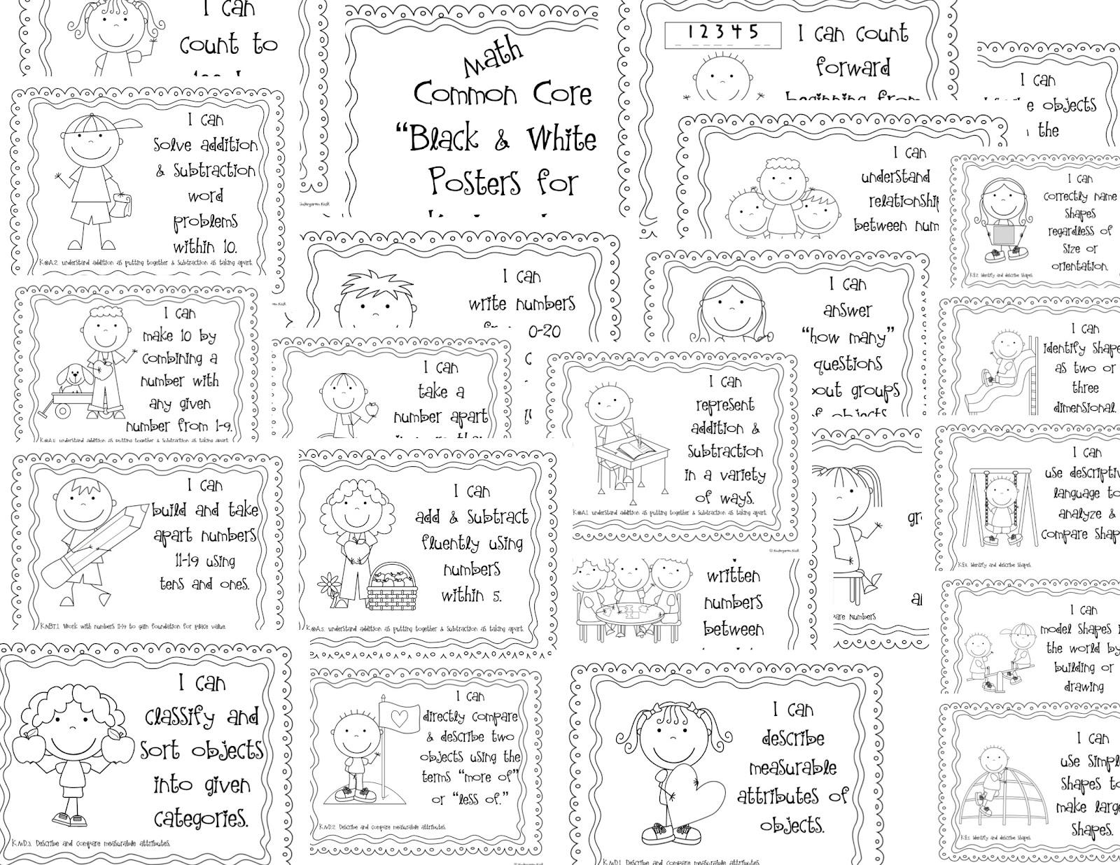 Kindergarten Kiosk: Kindergarten Common Core Posters For