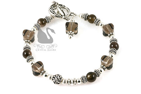 Smoky Quartz Gemstone Bali Beaded Bracelet (B147)