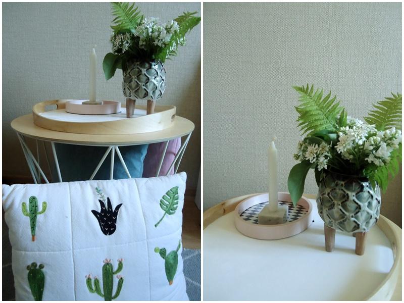 nowa odsłona doniczki, doklejone nóżki, poduszka w kaktusy