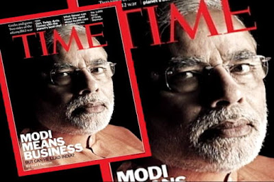 Narendra Modi's photo on time magazine cover page