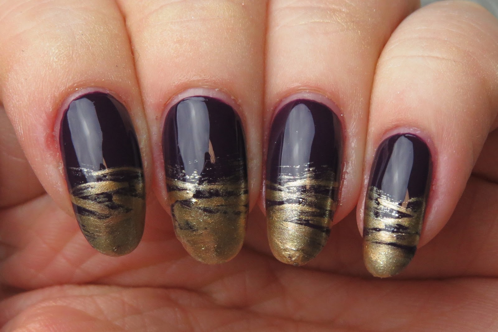 Mani monday brushed tips kaitlyn elisabeth beauty brushstroke nail art design french tip nail art design metallic nail polish prinsesfo Images