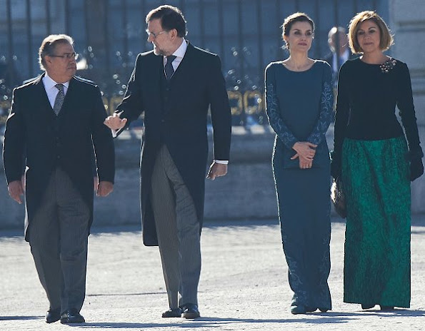 Queen Letizia of Spain attends the New Year's Military Parade at the Palacio Real. Felipe Varela, Magrit pumps, Tous Diamond earrings