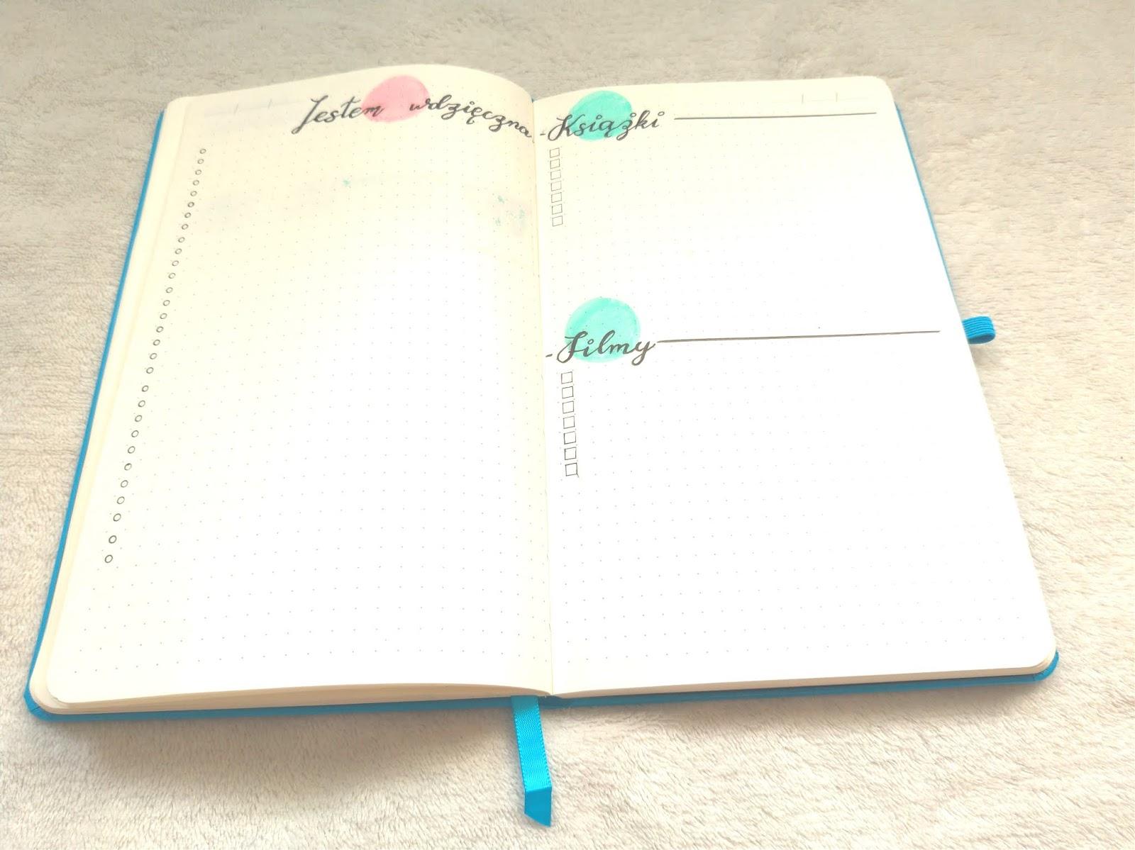 kolekcje w Bullet Journal: dziennik wdzięczności oraz filmy i książki