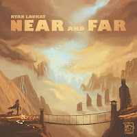 The cover art for Near and Far: a mountainous landscape with someone standing at the end of a rope bridge in the foreground.