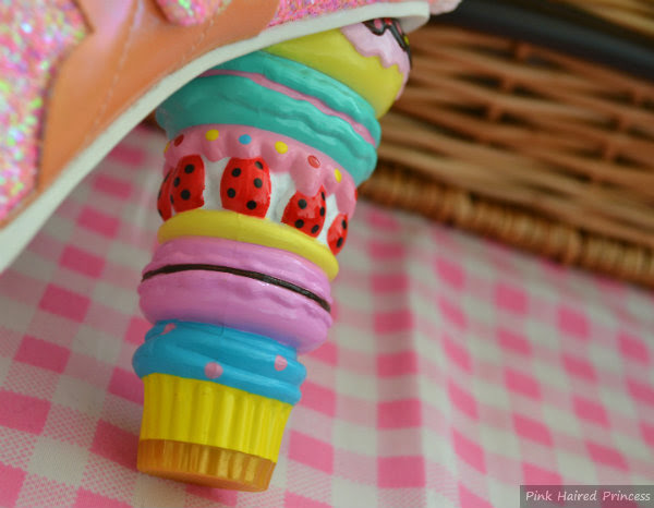 macaron cake heel on gingham background