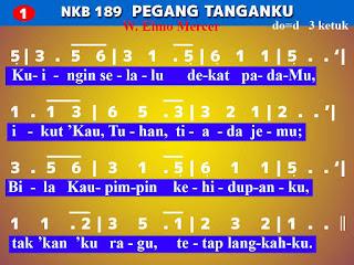Lirik dan Not NKB 189 Pegang Tanganku
