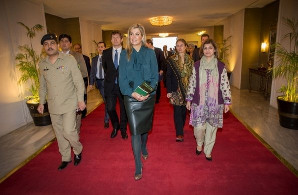 Dutch Queen Maxima attend an meeting with the President of Pakistan Mamnoon Hussain at the Residential Palace