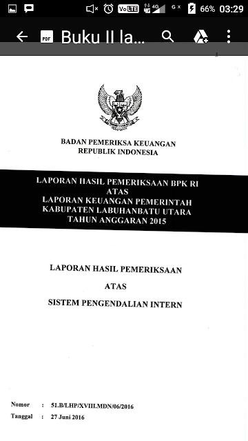 Buku hasil pemeriksaan BPK di Labura.