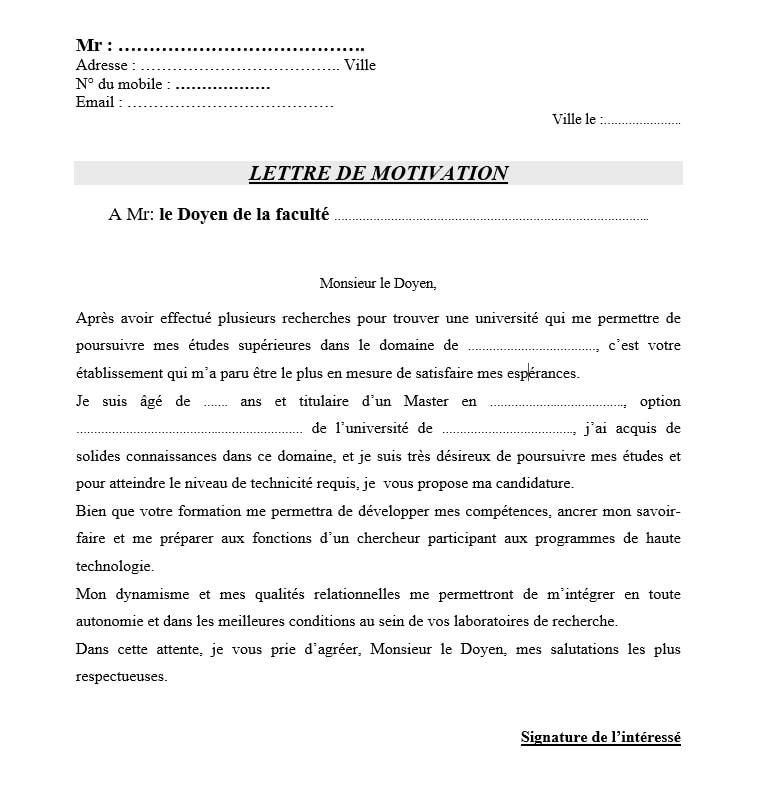 lettre de motivation inscription doctorat