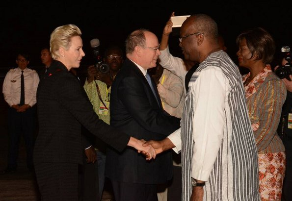 Prince Albert, Princess Charlene of Monaco, President Roch Marc Christian Kaboré, and Sika Bella Kaboré at Ouagadougou airport.