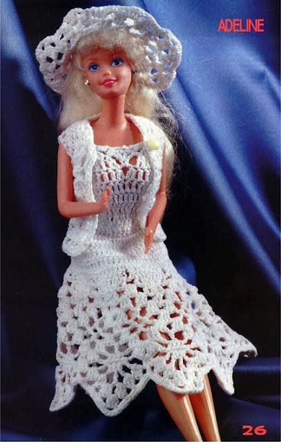 vestido bolero e chapéu de crochê para Barbie com gráfico