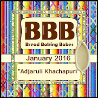 January 2016 Bread Baking Babes Badge - Adjaruli (Acharuli) Khachapuri