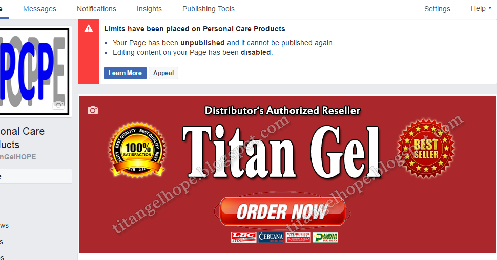 titan gel hope titan gel facebook page unpublished again