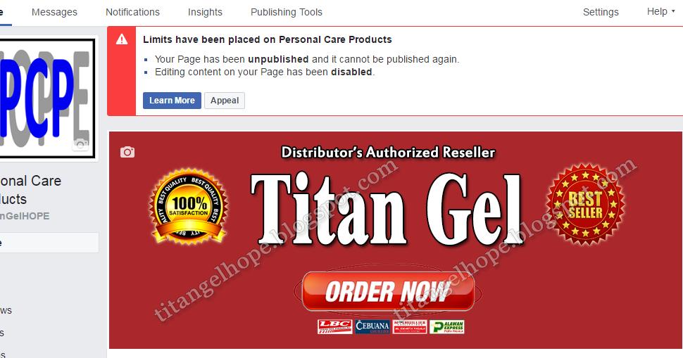 titan gel hope titan gel facebook page unpublished again