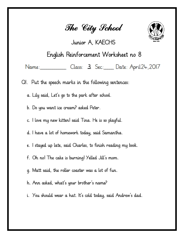 English Class 3 – Nol Worksheet