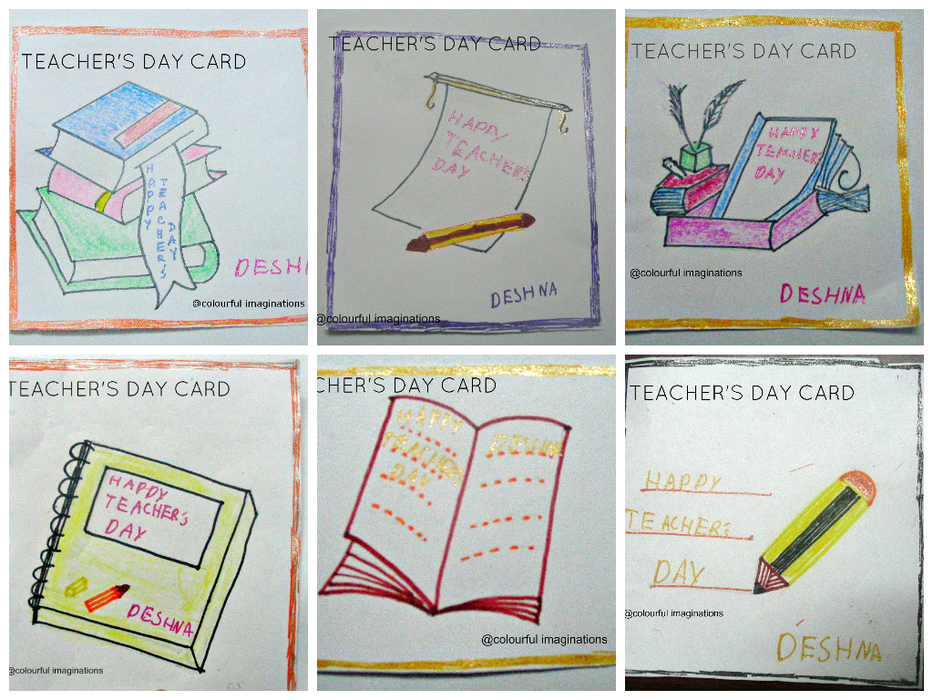 colourful imaginations  diy  teacher's day cards