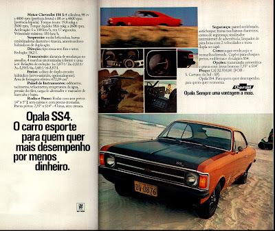 propaganda  Opala GM SS4 - 1974. anos 70. propaganda de carros anos 70