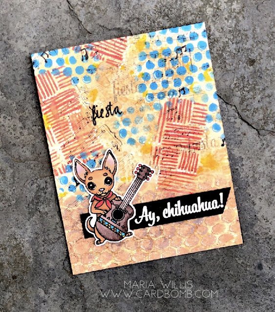 #cardbomb, #mariawillis, #simonsaysstamps, #sssmchallenge, #ssswchallenge, #rangerink, #timholtz, #stencils, #heroarts, #copics, #color, #distressoxideinks, #distressinks, #distresscrayons, #chihuahua, #cards, #stamps, #ink, #paper, #cards, #papercrafting, #creative, #handmade, #diy, #texture,
