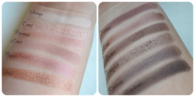 Urban Decay, Naked 3, Palette, eye palette, eyeshadow, swatch, swatches, review, strange, dust, burnout, limit, buzz, trick, nooner, liar, factory, mugshot, darkside, blackheart