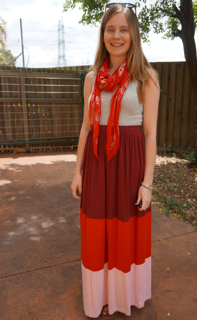 Red spring scarf outfit grey tank maxi skirt Alexander McQueen skull