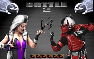 """Captura de pantalla de MK3, demo con Battle 2. Sindel (mujer vampírica de larga cabellera blanca y vestido morado ajustado y con escote) Versus Sektor (especie de """"predator"""" con armadura roja y casco samurai futurista)"""