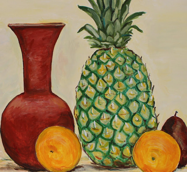 still-life, pineapple, sarah, myers, vase, pear, oranges, acrylic, painting, fruit, ceramic, exuberant, amy, myers, canvas, large, shapes, round, earthenware, terracotta, contemporary, art, arte, kunst, pintura, maleri, natura, morte, figurative, classical, representative, bright, detail, close-up