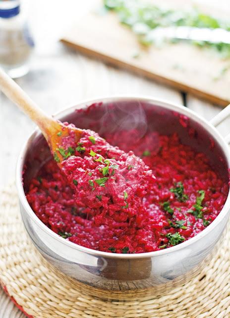 One-Pot Cheesy Beet Rice