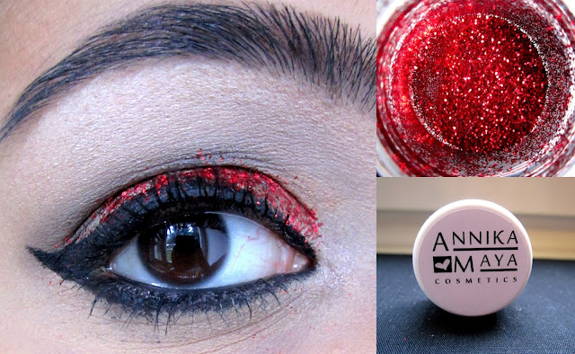 Closeup & eye look of Annika Maya Glitter in the colour 'Ruby'
